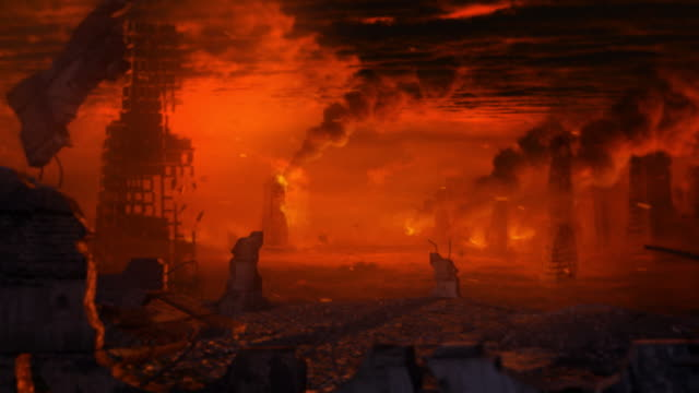 Apocalyptic landscape with ruins. Apocalyptic landscape, hell or armageddon with burning city. demolishing stock videos & royalty-free footage