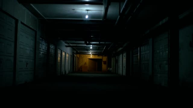 Apocalyptic underground passage with storm and flickering lights