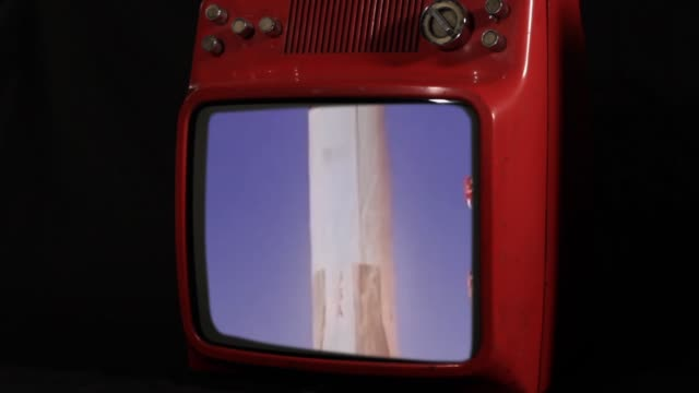 Apollo 11 Saturn V Rocket launch on a Red Retro TV. Public Domain Footage. Elements of this video furnished by NASA.