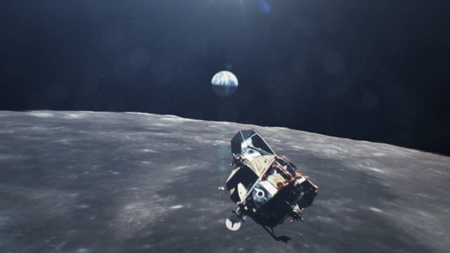 Apollo Moving Over Moon With Earth in the Back Ground video