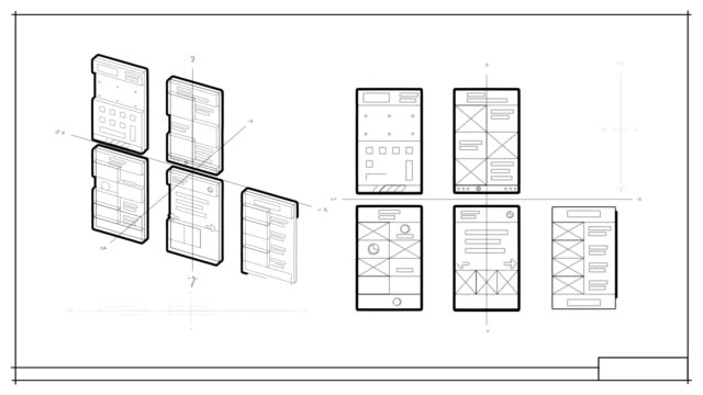 App Development User Interface and User Experience Animated Elements Black and white technical drawing of wireframes for an app or website being drawn as seen from several angles and organized in a blueprint. website design stock videos & royalty-free footage