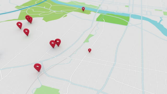 app style map with pinpoints, 4k - cartina italia video stock e b–roll