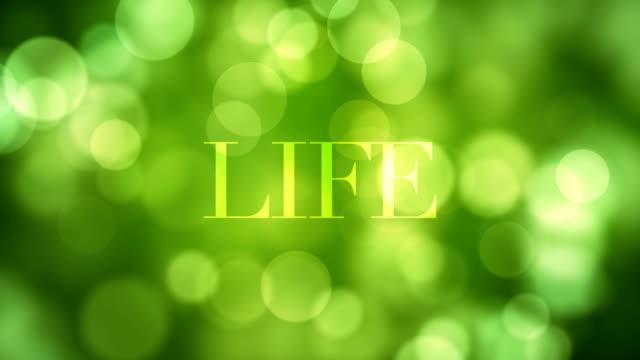 '인생' 텍스트를 게재 하 고 이동 하는 녹색 반짝이 조명으로 잠시 후 해산, loopable에 defocused 빛 반사 bokeh 배경 녹색. 건강 한 생활, 봄, 숲, 희망 찬 개념 동영상 - wellness 스톡 비디오 및 b-롤 화면