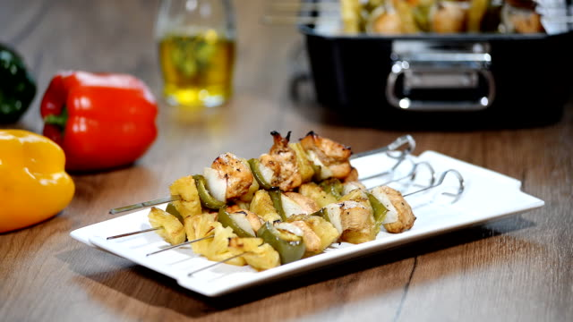 Appetizer chicken kebab with vegetables