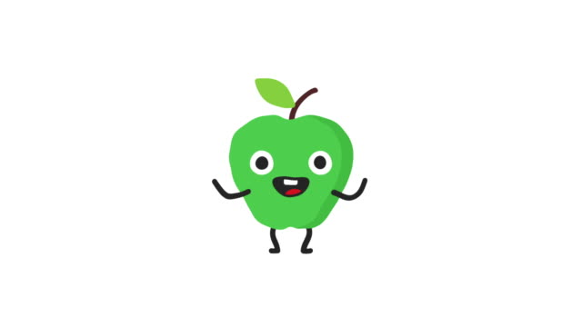 Apple funny character dances and smiles. Loop animation. Alpha channel.