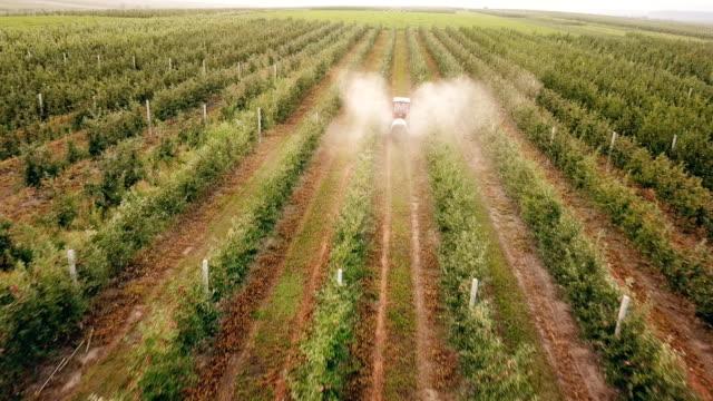 melo spruzzare con un trattore - fertilizzante video stock e b–roll