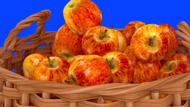 Apples droping to a basket from different angles. video