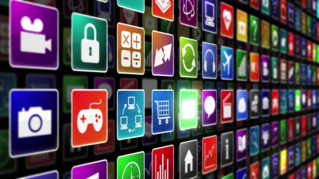 anwendung icons. endlos wiederholbar. - mobile app stock-videos und b-roll-filmmaterial