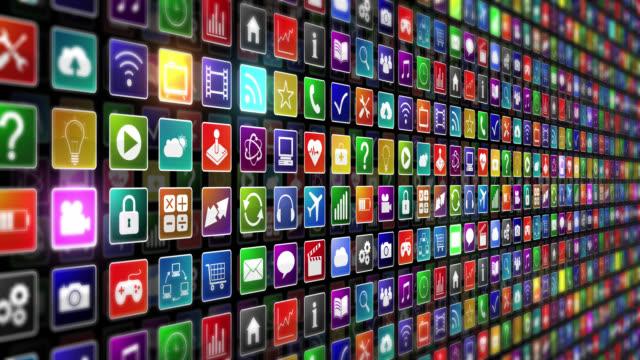 Iconos de aplicación. Zoom out. - vídeo