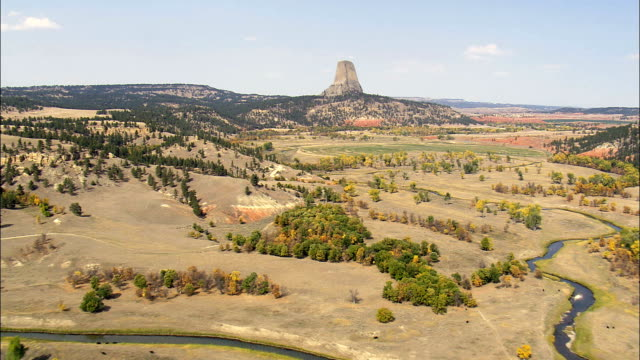 Approach To the Devil's Tower  - Aerial View - Wyoming, Crook County, United States video
