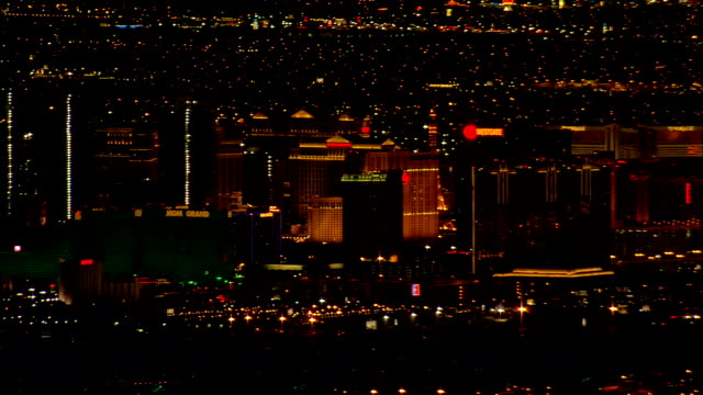 Approaching Las Vegas At Night  - Aerial View - Nevada,  Clark County,  United States video