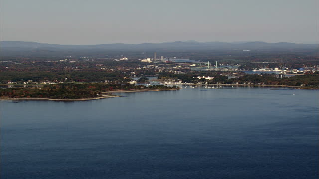 Approaching Portsmouth Harbour - Aerial View - New Hampshire,  Rockingham County,  United States video