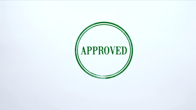 Approved seal stamped on blank paper background, loan decision, access allowed