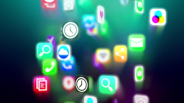 Apps icons flow. Dark version. Loop. video