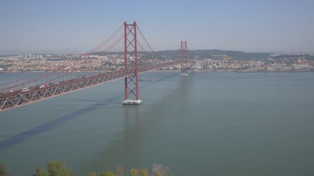 25 de Abril Bridge Ponte 25 de Abril in Lisbon, Portugal ponte 25 de abril stock videos & royalty-free footage