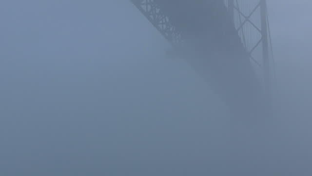 April 25th Bridge in Lisbon Timelapse video footage of the April 25th Bridge in Lisbon, under heavy fog. ponte 25 de abril stock videos & royalty-free footage