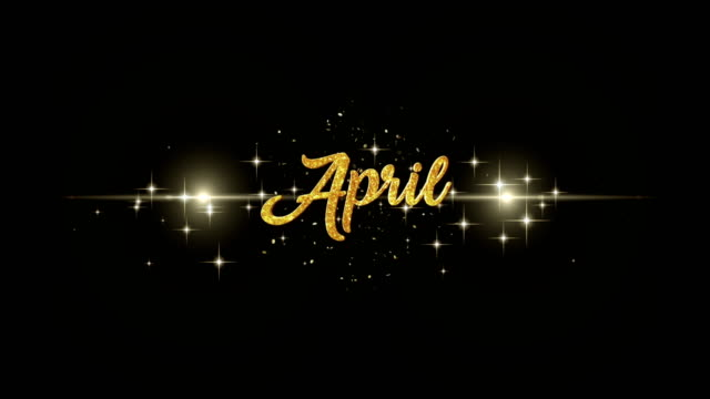 April Beautiful golden greeting Text Appearance from blinking particles with golden fireworks background. You can use backgrounds for all kinds of media production. april stock videos & royalty-free footage