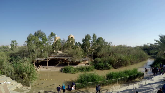 aptismal site Qasr el Yahud on the Jordan river near Yericho is according to the bible the place where Jesus Christ is being baptized by John the baptist video