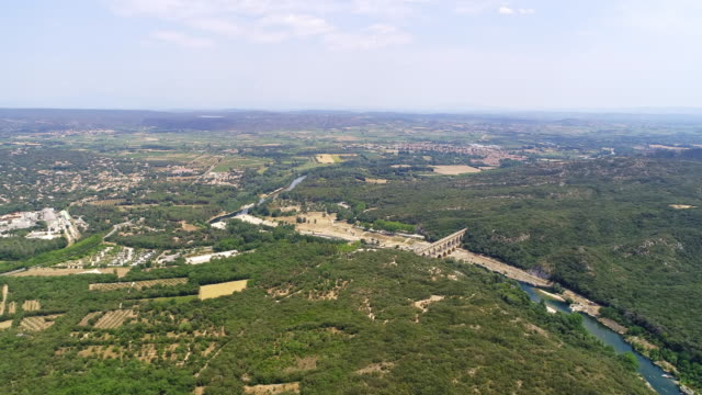 AERIAL Aqueduct bridge The Pont du Gard