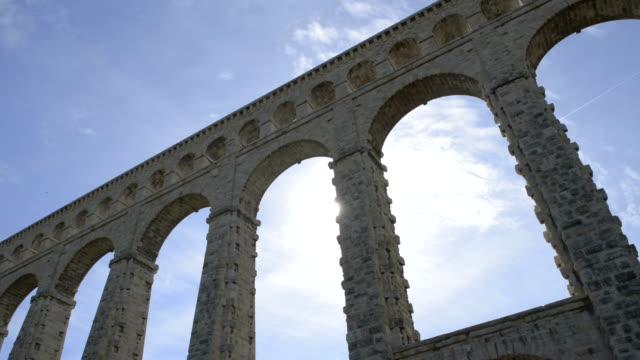 stockvideo's en b-roll-footage met aquaduct van roquefavour in backlight - pont du gard