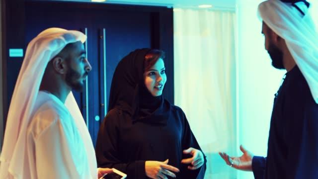arab business executive meeting at an event - arab стоковые видео и кадры b-roll