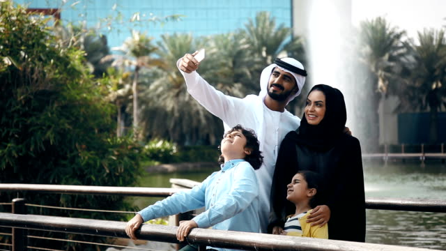 Arab Family Taking Selfie Outdoors video