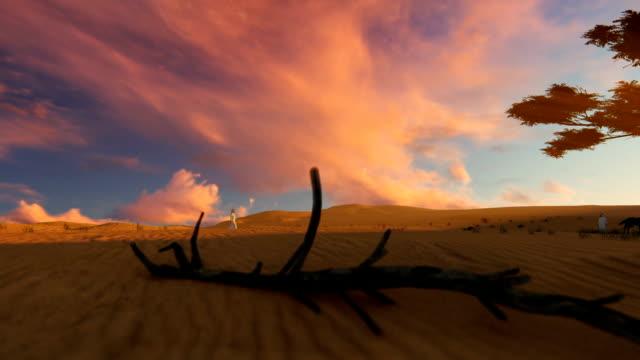 Arab man walking through the desert towards oasis at sunset, camera fly