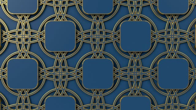 Arabesque looping geometric pattern. Gold and blue islamic 3d motif. Arabic oriental animated background.