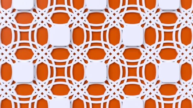 Arabesque looping geometric pattern. Orange and white islamic 3d motif. Arabic oriental animated background.