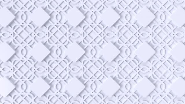 Arabesque looping geometric pattern. White islamic 3d motif. Arabic oriental animated background. Muslim moving wallpaper.