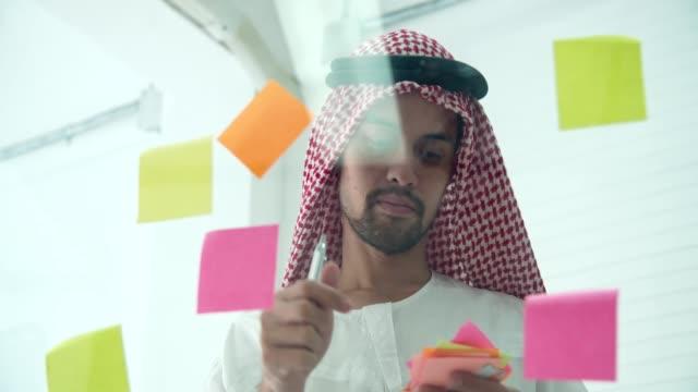 Arabic businessman wearing islamic clothes sharing business strategy plan idea