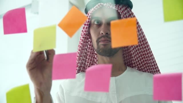 Homme d'affaires arabe portant des vêtements islamiques partageant l'idée de plan de stratégie d'affaires - Vidéo