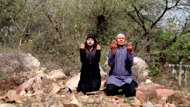 Arabic Father Daughter Praying To God Or Muslim Namaj Time