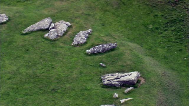 Arbor Low Stone Circle  - Aerial View - England,  Derbyshire,  Derbyshire Dales District,  United Kingdom video