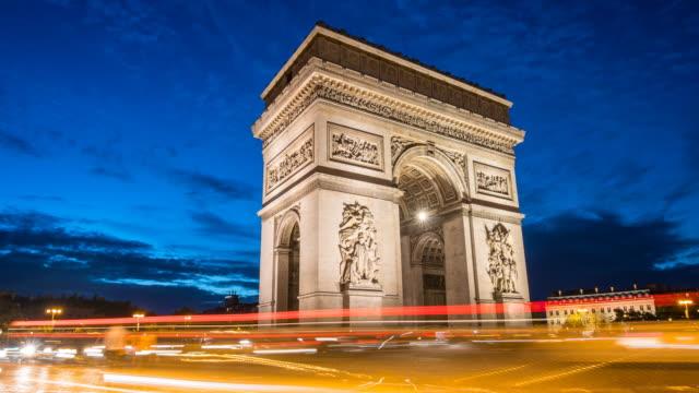 Arc de Triomphe at night time lapse video