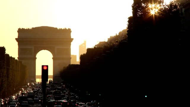 Arc de Triomphe at sunset video