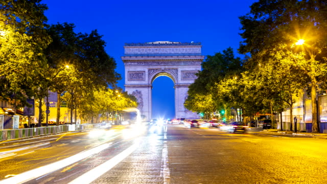 Arc de Triomphe in Paris by sunset, Time Lapse