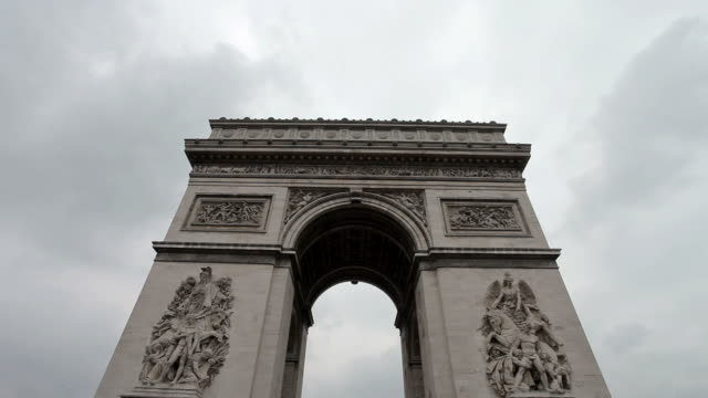 Arc De Triomphe on a cloudy day. Medium shot, centered. Zoom in and out. video