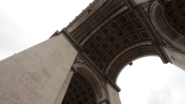 Arc De Triomphe on a cloudy day. Pan under the Arc. Left to right. video