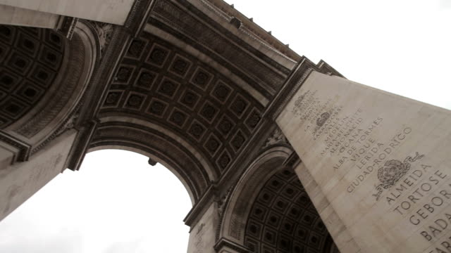 Arc De Triomphe on a cloudy day. Pan under the Arc. Right to left. video