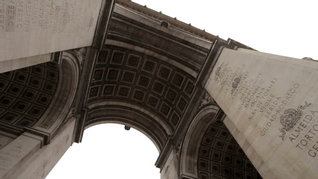 Arc De Triomphe on a cloudy day. Slow pan under the Arc. Right to left. video