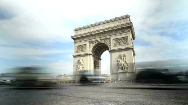 Arc de Triomphe Time-lapse Time lapse shot of traffic circling the Arc de Triomphe in Paris  president stock videos & royalty-free footage
