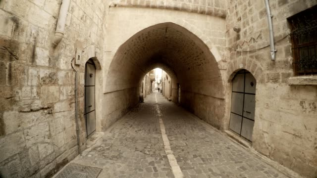 Arche from Overbuilt Passage under Narrow Ancient Street Paved with Stones in Urfa video