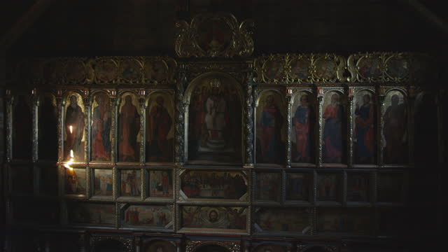 Arches and galleries in the orthodox church in Radruz, Poland