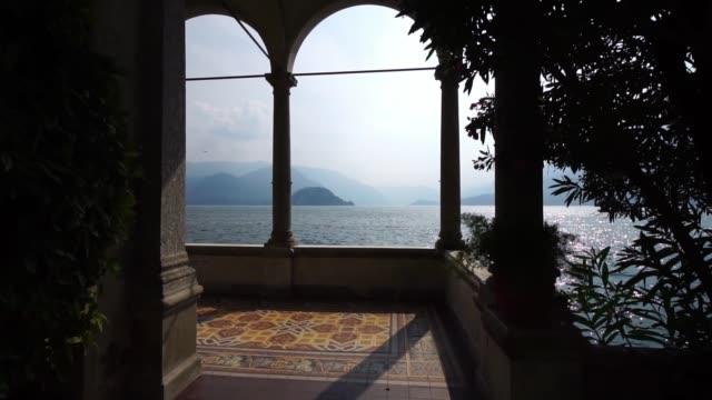 Arches in Villa Monastero on Lake Como. Varenna, Italy.
