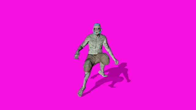 Archibald - Dancing zombie character animation in solid color background - Loop and shadowed video