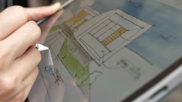 Architect Design using augmented reality on digital tablet to plan Architect Design using augmented reality on digital tablet to plan renovation stock videos & royalty-free footage