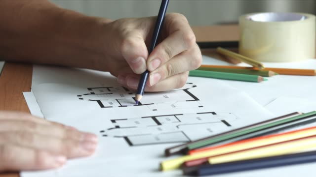 Architect Drawing with Colored Pencils video
