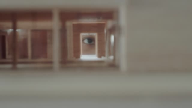Architect eye working with home model video