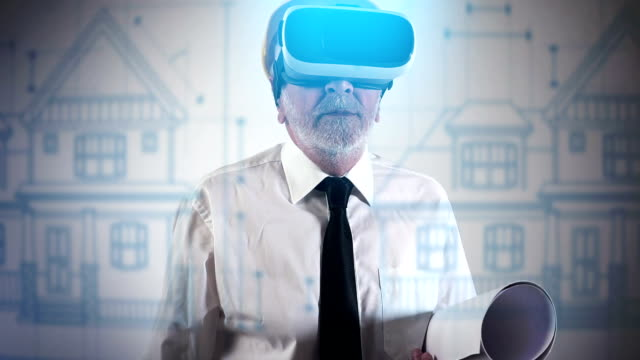 Architect using a VR headset to explore architectural blueprints